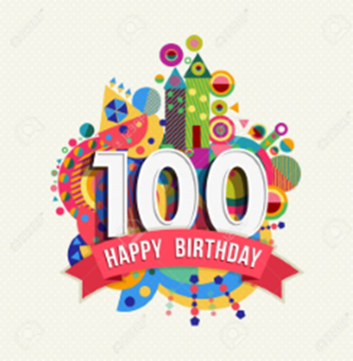 50199033 Happy Birthday One Hundred 100 Year Fun Celebration Greeting Card With Number Text Label And Colorfu
